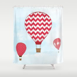 Red Hot Air Balloons Shower Curtain