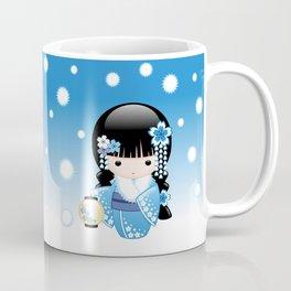 Japanese Winter Kokeshi Doll Coffee Mug