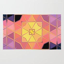 yellow pink violet black sqaure Rug