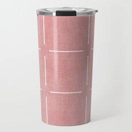 Block Print Simple Squares in Coral Travel Mug