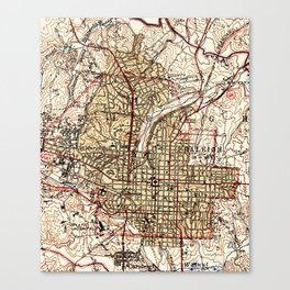Vintage Map of Raleigh North Carolina (1940) Canvas Print