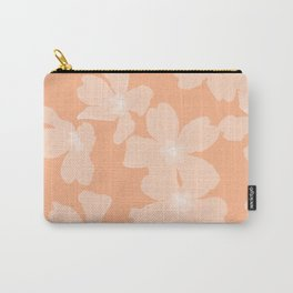 Pink primroses on coral floral pattern Carry-All Pouch