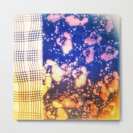 Floral splashes and checkered pattern Metal Print