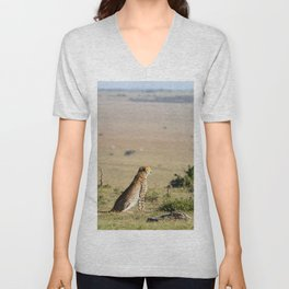 Two cheetahs on the look out Unisex V-Neck