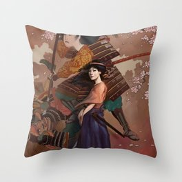The Spirit of Tomoe Gozen Throw Pillow