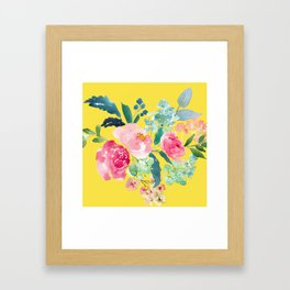 Yellow Watercolor Floral Pink Peonies Framed Art Print