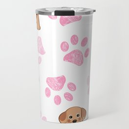 Cute dog and doodle paw prints pink paws pattern Travel Mug