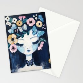 Flower Crown portrait Stationery Cards