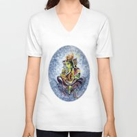 ganesha V-neck T-shirts featuring Ganesha by Harsh Malik