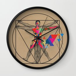 Vitruvian Man and a Burst of Color Wall Clock