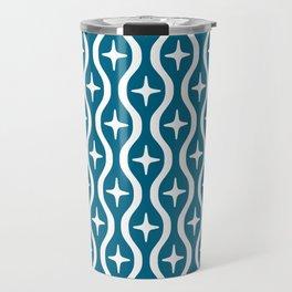 Mid century Modern Bulbous Star Pattern Peacock Blue Travel Mug