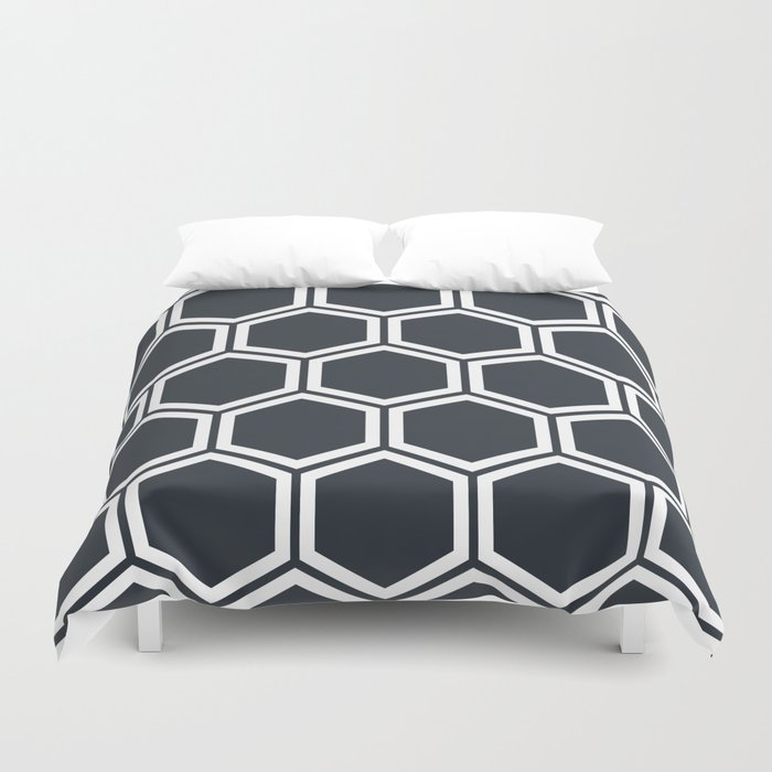 Hexagon Black Duvet Cover