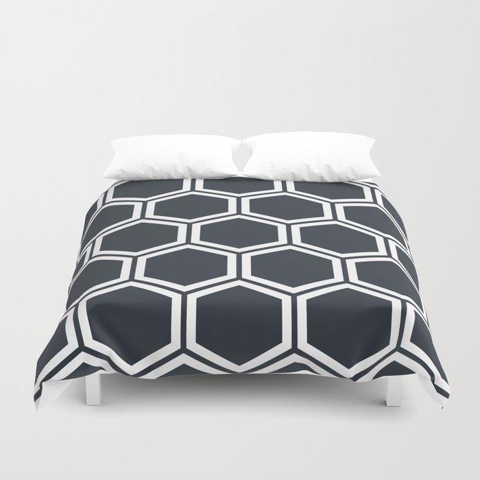 Hexagon Black Duvet Cover
