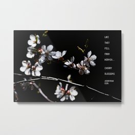 Sakura flowers on black 02 Metal Print