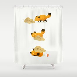 Fox and leaf blanket Shower Curtain