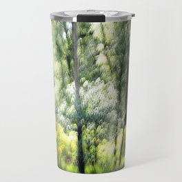 Abstract forest, intentionally blurred by camera shake  Travel Mug