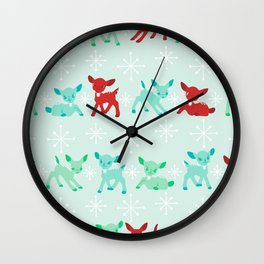 Red, Turquoise, and Jadeite Deer Wall Clock