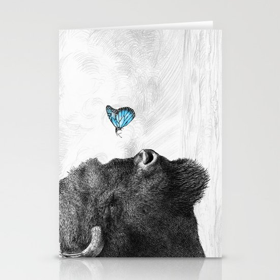 Bison and Butterfly (square format) Stationery Cards