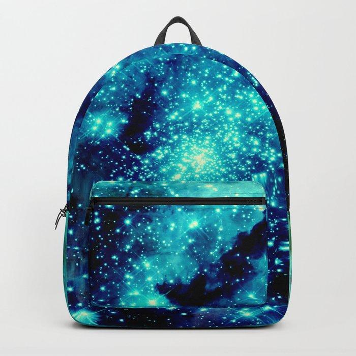 GALAXY. Teal Aqua Stars Backpack