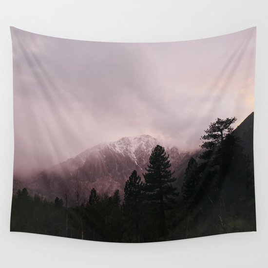 Misty Sunset on Convict Mountain Wall Tapestry