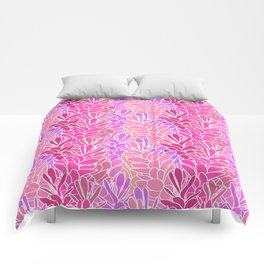 Tropical Ginger Blossom Vines in Pink + Coral Comforters