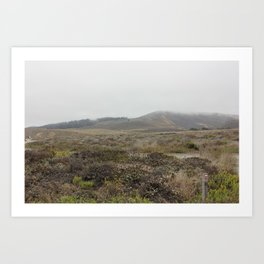 Osos bay park, marine layer rolling over the hills Art Print