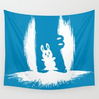 crocodile Wall Tapestries featuring cornered! (bunny and crocodile) by Picomodi