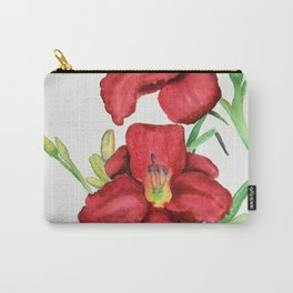 Red Watercolour Lillies Carry-All Pouch