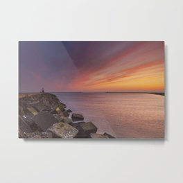 I - Sunset over harbour entrance at sea in IJmuiden, The Netherlands Metal Print