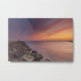 I - Sunset over harbour entrance at sea in IJmuiden, The Netherlands Metal Print
