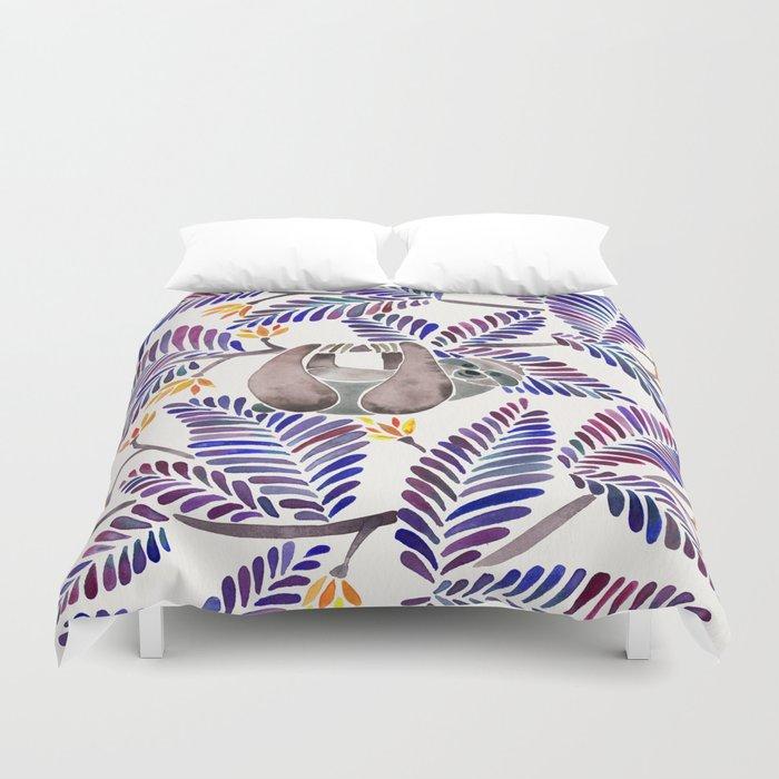Happy Sloth – Tropical Indigo Leaves Duvet Cover