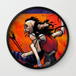 I am two Figurative art, conceptual painting, surreal illustration. Wall Clock