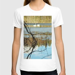 Swan couple on icy lake T-shirt