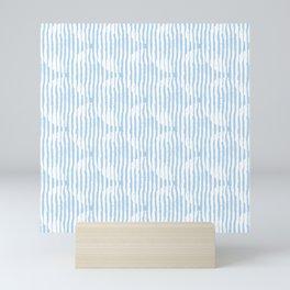 Zen Circles Block Print In Light Blue Mini Art Print
