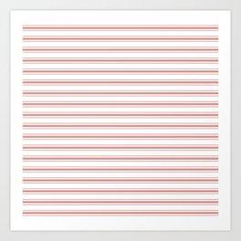 Large Camellia Pink and White Mattress Ticking Stripes Art Print