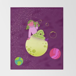 Bubbles in Space Throw Blanket