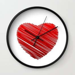 Scribbled red valentine heart- be my valentine Wall Clock