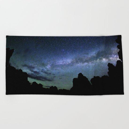 Milky Way Mountains Silhouette Beach Towel