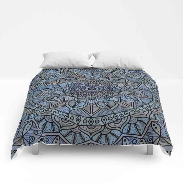 Circle of Life Mandala full color on blue swirl Comforters
