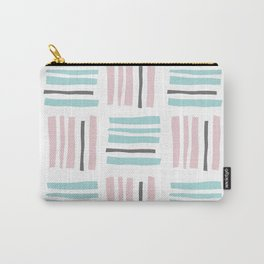 Stripes×Checkered Pattern_Mint Green&Pink&Gray Carry-All Pouch