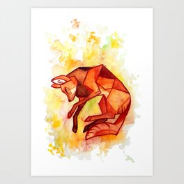 Angular maned wolf watercolor painting Art Print