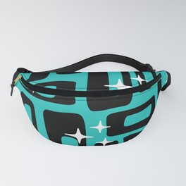 Retro Mid Century Modern Abstract Pattern 780 Black and Blue Fanny Pack