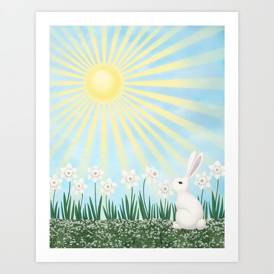 sunshine bunny with daffodils Art Print