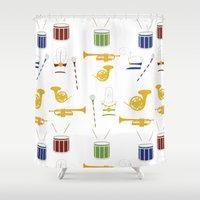 band Shower Curtains featuring Marching Band by S. Vaeth