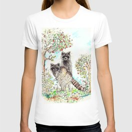 Raccoons in the Forest (color edition) T-shirt