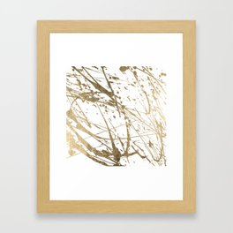 Artistic white abstract faux gold paint splatters Framed Art Print