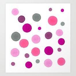 Pink Polka Dot Party - Random Spots of Ink Art Print
