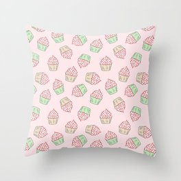 Cupcakes - Pink and Mint Doodle Pattern Throw Pillow