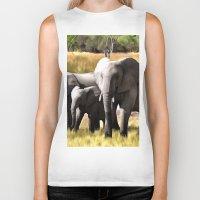 elephants Biker Tanks featuring Elephants by Regan's World