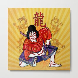 Kabuki Japanese Folk Art Motif Metal Print